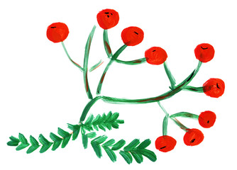 Watercolor rowan berries with leaves