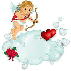 Cupid and clouds pierced heart