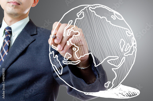 Businessman drawing  Global