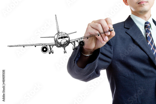 businessman writing air plane