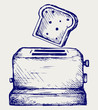 Toast popping out of a toaster. Doodle style