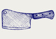 Meat cleaver knife. Doodle style