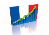 France (Euro), and stocks trading up economic recovery graph (ve