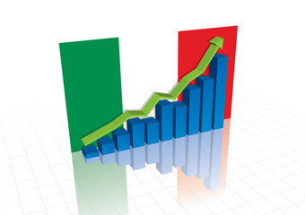 Italy (Euro), and stocks trading up economic recovery graph (vec