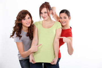 Three funny female friends