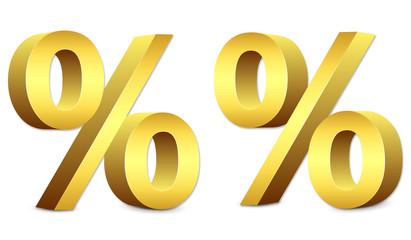 3D gold percent sign, sale symbol