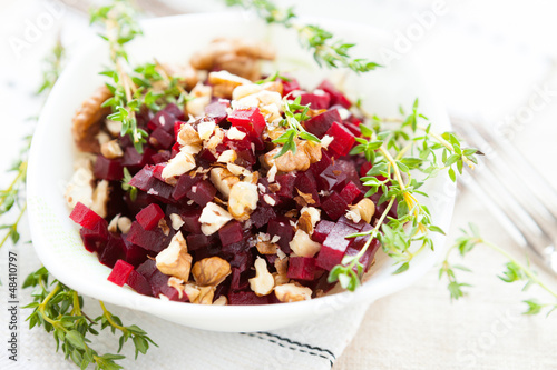 Beetroot salad and nuts, healthy food