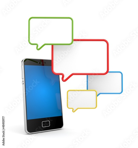 Mobile phone with speech bubbles