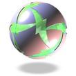 grüne schwebende Kugel