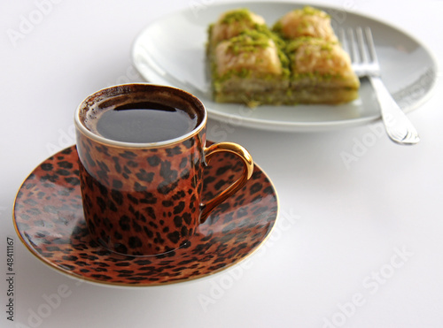 A Cup of Turkish Coffee and Baklava with pistachios