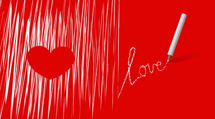 handschrift love rot weiß