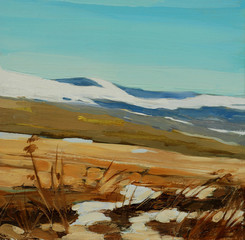 winter landscape in  spanish mountains pyrenees, painting on a c