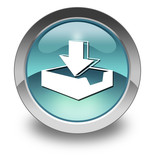 """Light Blue Glossy Pictogram """"Download"""""""