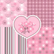 Cherry blossom seamless stylized flowers 4 patterns.