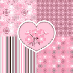 Cherry blossom seamless stylized flowers 4 patterns.