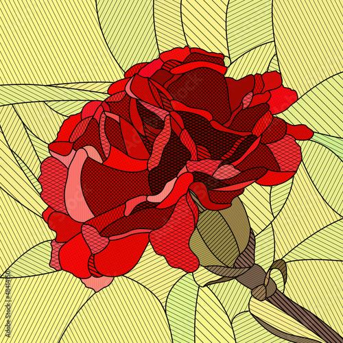 wektorowa-ilustracja-kwiatu-czerwony-gozdzik