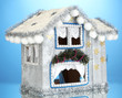 Decorated Christmas house on blue background
