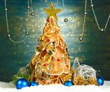 beautiful christmas tree of dry lemons with decor,