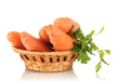 carrots in basket isolated on white