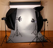 photo studio with lighting equipment
