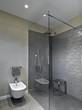 box doccia in vetro e muratura nel bagno moderno