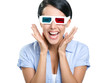 Close-up of happy girl in 3D glasses, isolated on white