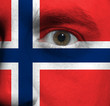face with the Norwegian flag painted on it