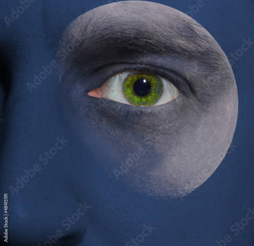 face with a moon and blue sky skin