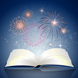 Vector Illustration of an open Book with Fire Works