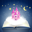 Vector Illustration of an open Book wirh a Princess Castle