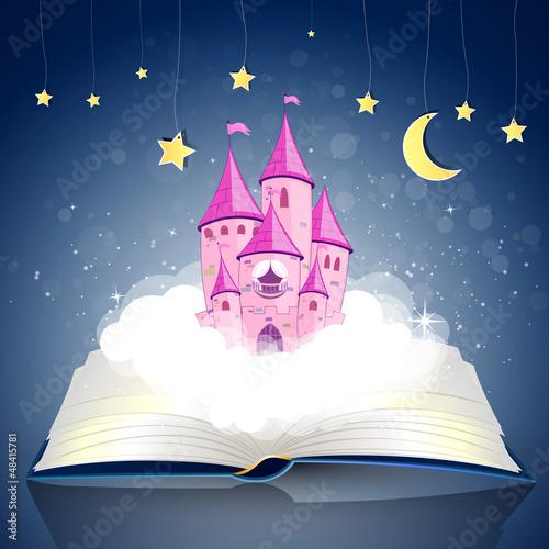 Foto op Aluminium Kasteel Vector Illustration of an open Book wirh a Princess Castle