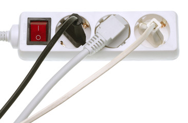 Power strip multiple electrical cords plugged in