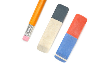 Pencils and eraser isolated on white background