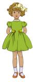 Retro kids, vintage little girl illustration