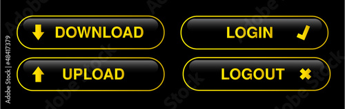 Black and gold web buttons, icons Vector .