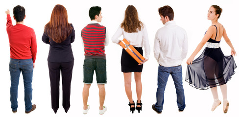 Set of people from back, isolated on white