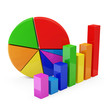 Colorful Business Graph with Pie Chart  on white background