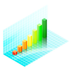 Colorful isometric bar chart over the shiny blue glass. Eps10