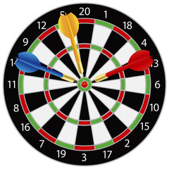 Dartboard with Darts Illustration