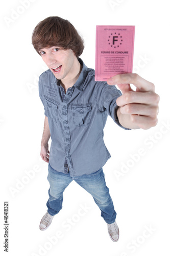Teenage boy with driving license