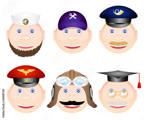 Professions faces icons 2