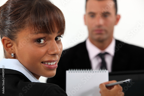 Woman conducting interview