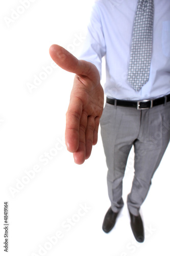 Businessman offering to shake-hand