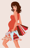 Beautiful pregnant woman with shopping bags, vector illustration