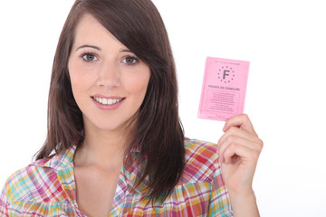 Brunette with a driving license