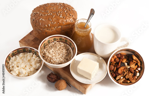healthy  meal with bread,milk and cereals
