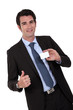 businessman showing card