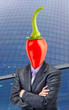 Businessman with chili pepper instead of head