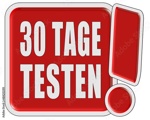 !-Schild rot quad 30 TAGE TESTEN
