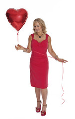 Woman Holding Heart Shaped Ballon